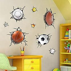 3D Baloncesto Fútbol Fútbol Tenis Diseño Autoadhesivo Extraíble Rotura a Través de la Pared Vinilo Pegatinas de Pared Murales Art Decals