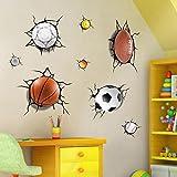3D Basketball Fußball Fußball Tennis Design Selbstklebende Abnehmbare Pause Durch Die Wand Vinyl Wand Aufkleber Wandbilder Decals