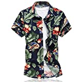 Mirecoo Herren Urlaub Hawaiihemd mit Blatt-Print Kurzarm Shirt