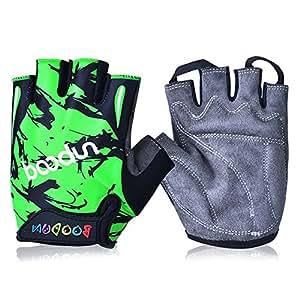 1 Paar Ludan Grün Halbe Finger Kinder Handschuh Luftdurchlässigkeit Anti Rutsch Sommer schützende Fahrrad Handschuhe Größe L