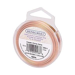 BENECREAT 10m 1mm Filo di Rame Metallico Accessori Artigianali per Gioielli Design di Gioielli - Colore Rame