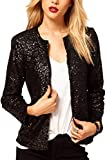 Frauen In Eleganten Langen Ärmel Paillettes Pailletten Büro Blazer Der Anzüge Outcoat Black XL