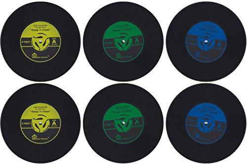 PBELE 6 x Retro CD enregistrement vinyle Tapis Dessous-de-verre Coffee Tasse Chic Table Silicone UK stock (Stock Coaster)