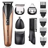 Tondeuse Barbe Homme 6 en 1 Tondeuse Cheveux USB Rechargeable Tondeuse Nez Oreille Tondeuse Visage Rsaoir Electrique Homme Tondeuse pour Corps