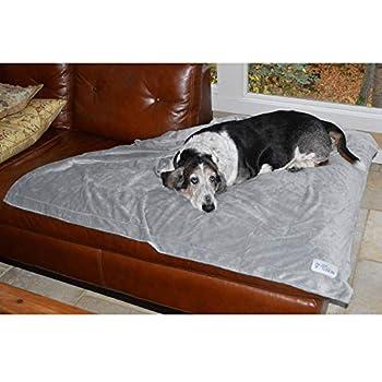 Couverture moyenne pour chien PetFusion Premium (112x86 CM). Peluche micro réversible gris. [100% polyester doux]