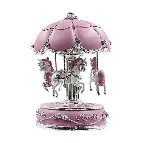Qtmy Spring Wind Up musical Boîtes Boule de cristal Carrousel Manège Paillettes avec lumière LED Cadeau pour enfants