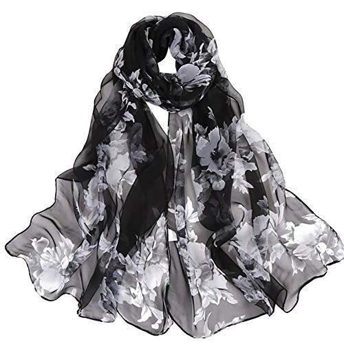 (Damen Urlaub Reisen Stil Mode Frauen Pfirsichblüte Druck Lange Weiche Chiffon Wrap Schal 160x50cm Damen Strand Dating Art Print Lange Schals)
