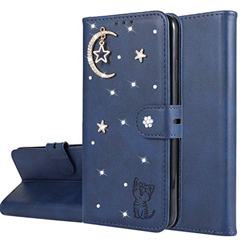 Miagon Diamant Brieftasche Hülle für OnePlus 7 Pro,Mond Star Katze 3D Design PU Leder Flip Handyhülle Klapphülle Klappbar Silikon Bumper Schutzhülle,Blau