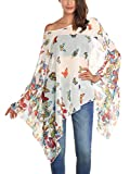 DJT Mujeres Estampado Floral Chiffon Caftan Poncho Tunic Top Blanco Floral