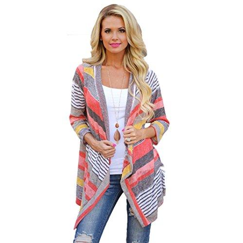 Manteau Femme, Koly Femmes Irregular Stripe Cardigan ChâLe Kimono Tops Cover Up Blouse (S)