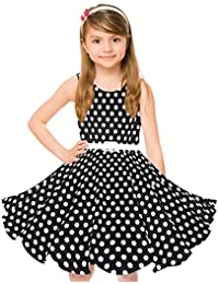 HBBMagic Vintage Girls Cotton Dresses With Belt 1950's Sleeveless Round Neck Polka Dot Floral Print for Party