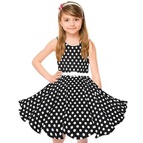 Mädchen Kleid Schule Der (Maedchen 1950er Vintage Retro Baumwolle Kleid Hepburn Stil Kleid Blumen Kleid Tupfen)