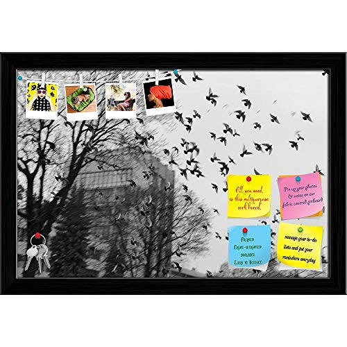 Artzfolio Urban Printed Bulletin Board Notice Pin Board | Black Frame 23.5 X 16Inch -