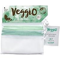 carrinet Veggio 5unidades reutilizable lavable poliéster cordón de grado de alimentos malla bolsas para frutas y vegetales compras y almacenar