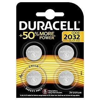 Duracell Specialty 2032 Lithium-Knopfzelle 3V, 4er-Packung (CR2032 /DL2032 entwickelt für die Verwendung in Schlüsselanhängern, Waagen, Wearables und medizinischen Geräten.