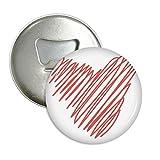 Flaschenöffner/Kühlschrankmagnet mit roter Linienskizze zum Valentinstag, rund, 3 Stück