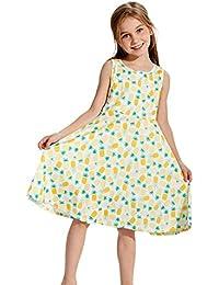 chicolife Filles été Toddler Robes sans Manches Robe à Fleurs Fille Robe ... 8fa09dca26b