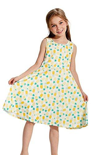 eines Mädchen Urlaub Kleid Sommer Ananas Print Shift Kleid 7-10 t Sommerkleid (Maxi-kleid Für Kleine Mädchen)