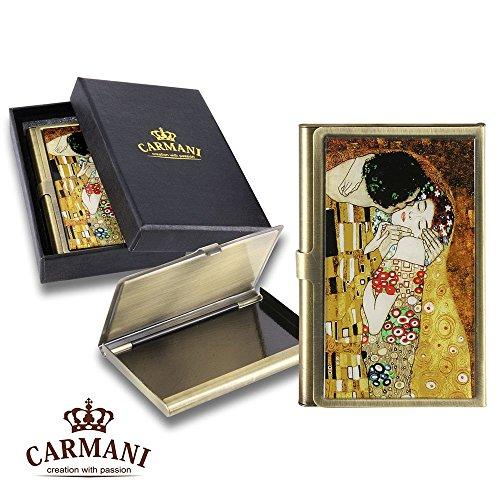 Carmani - Messing Metall, Geschäftsleben, Name, Kredit, ID Card Organizer, Card Case mit Gustav Klimt \'Der Kuss\'
