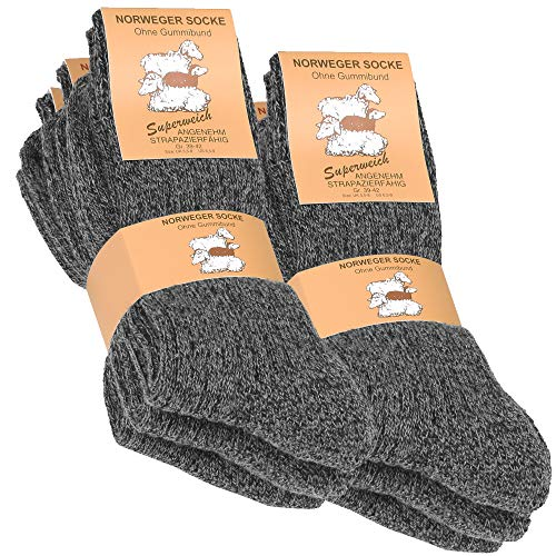 6 Paar Norweger - Socken anthrazit meliert mit weich gepolsterter Plüschsohle Gr. 43-46