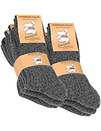 (6 Pair) Men's Chunky Wool Socks with cushioned sole, extra warm