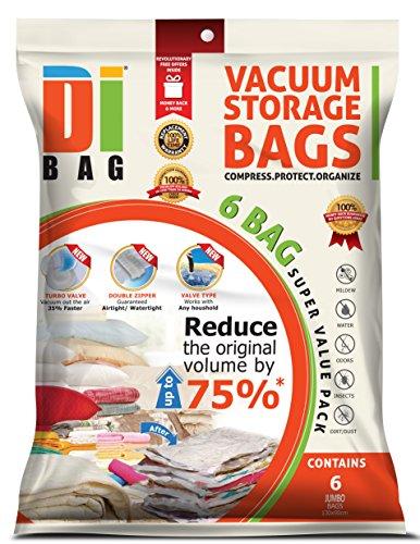 DIBAG - Vakuumbeutel - Vakuum Aufbewahrungsbeutel - 6 Vakuum Kleiderbeutel - Beutelgröße: 130x90 cm - Kompressionsbeutel zur Aufbewahrung von Kleidung , Bettdecken , Reise , Bettwäsche , Kissen