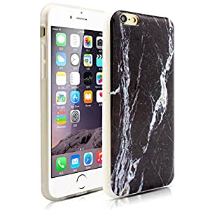 Iphone 6S Case, Milocos [Ultra - Thin] Glossy Slim Black Marble Vein Texture Pattern Soft TPU Snap Bumper Case for Iphone 6 and 6s (4.7 inch)