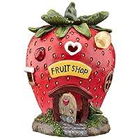 Garden Gear Solar LED Light Up Strawberry Fairy House, Decorative Outdoor Ornament, Height 18.5cm