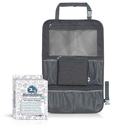 Storch&Born ® Auto Rückenlehnenschutz Kinder, Ohne Motiv, Autositz-Schoner mit Taschen und Tablet-Fach | Auto Rücksitz Organizer | Rücksitztasche