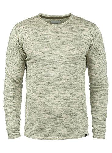 Blend Xylon Herren Strickpullover Feinstrick Pullover Mit Rundhals Und Melierung Aus 100% Baumwolle, Größe:M, Farbe:Dusty Green (70595) -