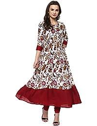 Ives Anarkali White Viscose Rayon Floral Print Kurti For Women