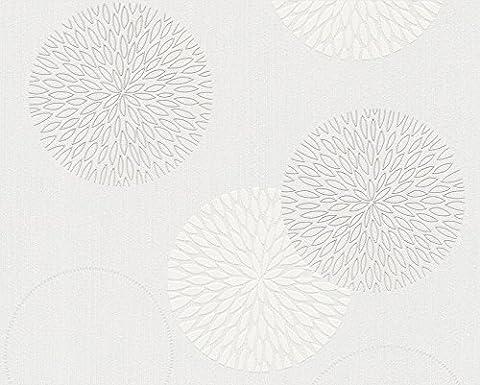 Tapete Kreise Abstrakt Typ A Relief graue Blumen und weißen in TNT Moderne Black and White 93792–2