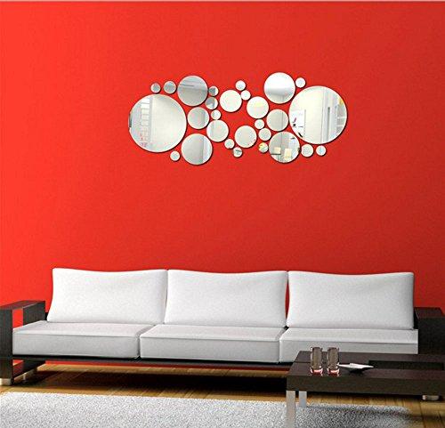 Stonges Round Circle Mirror Wall Sticker Extraíble Acrílico 3D Espejo de Vinilo Arte Calcomanía Decoración...