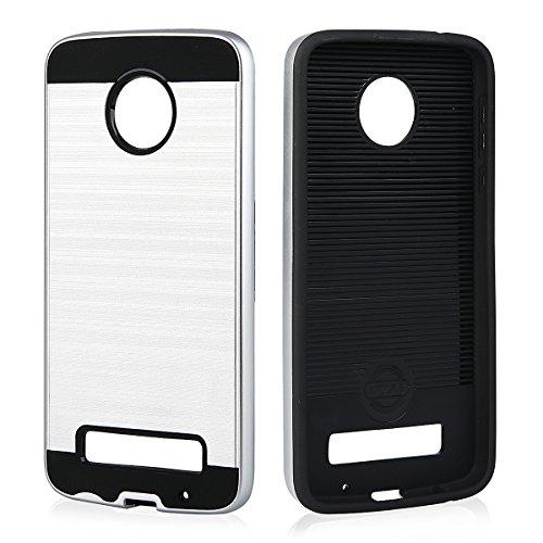 EGO® Hard Case Schutz Hülle für Lenovo Moto Z Play Grau Metallic Effect Brushed Handy Cover Schale Bumper Etui Top-Qualität Silber