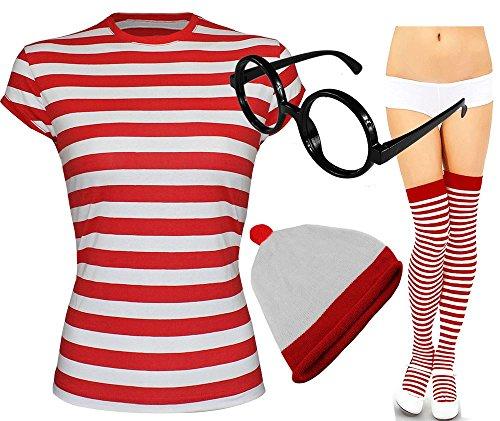 Damen Herren Wo Ist Nerdgeek-Brille Abendkleid Fresher Kostüm Book Day 3 & 4 Piece Set (Wo Ist Wally Kostüm Damen)