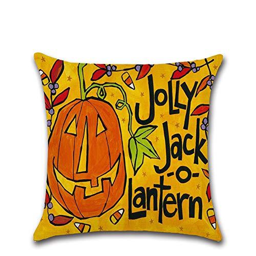 Halloween Deko Grusel Dekoration Set 45 * 45 cm Halloween Cartoon Kürbis Leinen Kissenbezug 206 1 Paket für Halloweendeko Make-up-Party Halloween Dekoration