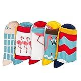5 Paar Baumwolle Casual Knöchel Cute Flamingo Socken