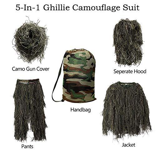 OwtBuy 5 in 1 Jugend Ghillie-Anzug Tarnung Jagdbekleidung einschließlich Jacke, Hose, Kapuze, Gewehrfolie, Tragetasche geeignet für Kinder/Kinder
