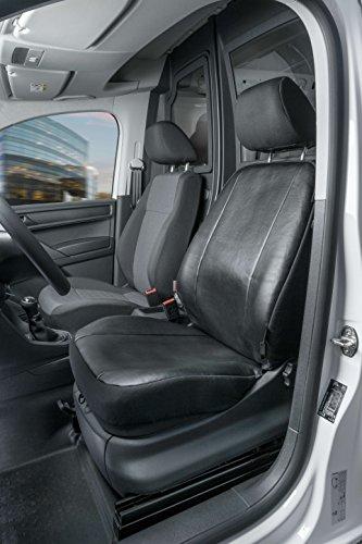 Walser 11517 Caddy Passform Sitzbezüge Einzelsitz Vorne aus Kunstleder ab Baujahr 02/2004 bis Heute, Anthrazit