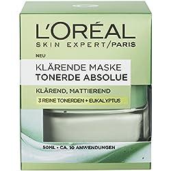 L'Oreal Paris Tonerde Absolue Grüne Klärende Maske, mit Eukalyptus, entfernt Unreinheiten und verfeinert die Poren, 50 ml