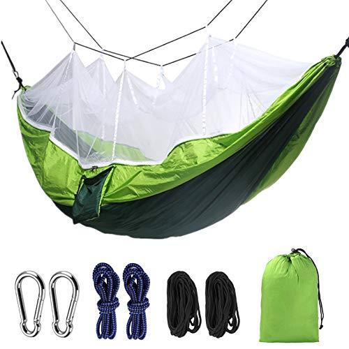 Jun7L 2 Personen Hängematte mit Moskitonetz - Outdoor Hängematte für Camping Wandern Backpacking für Reisen, Strand Grün 260x140cm