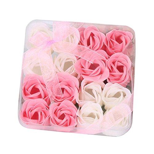 Bunte Rosen-Dekorationen,Moonuy 16 Stücke Herz Duftenden Körper Blütenblatt Rose Blume Seife Hochzeit Dekoration Geschenk für eine schnelle Handwäsche oder luxuriöses Bad (Rosa) (Blumen-seife)