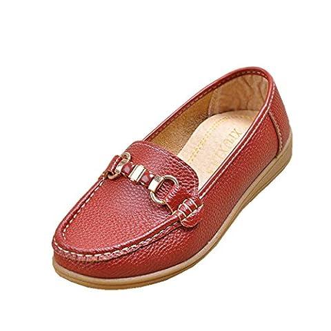 Femmes Flats Chaussures simples New Leisure Loafer Comfort Pompes artificielles PU Sans glissement Fond doux Noir Rouge Automne Printemps Fête Travail , Red , EUR 36/ UK