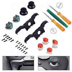 Onyehn Ersatz-Thumbsticks/Joysticks, Schwarz, Ersatz LB RB Stoßstangen Trigger Buttons (mit ABXY Tasten, Mod Kit und T6 T8 Schraubenzieher-Reparaturset), kompatibel mit Xbox One Elite Controller