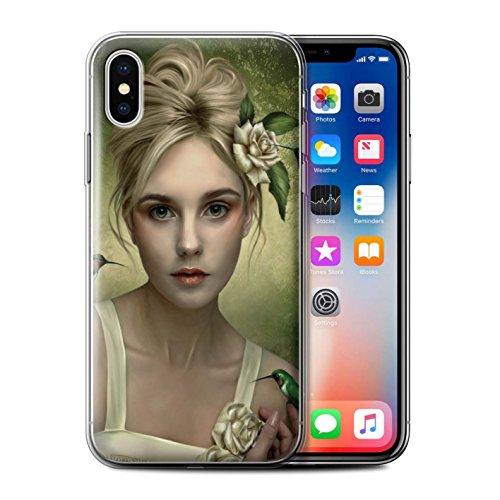 Officiel Elena Dudina Coque / Etui Gel TPU pour Apple iPhone X/10 / Plumes D'arc-en-Ciel Design / Les Oiseaux Collection Colibries/Des Roses