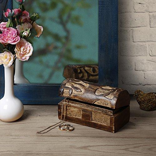 Weihnachtsgeschenke, Store Indya, Handgemachte Mango Holz Dekorative Schmuckaufbewahrung Trinket Andenken Mehrzweck Box mit Baum des Lebens Gravuren (Small)