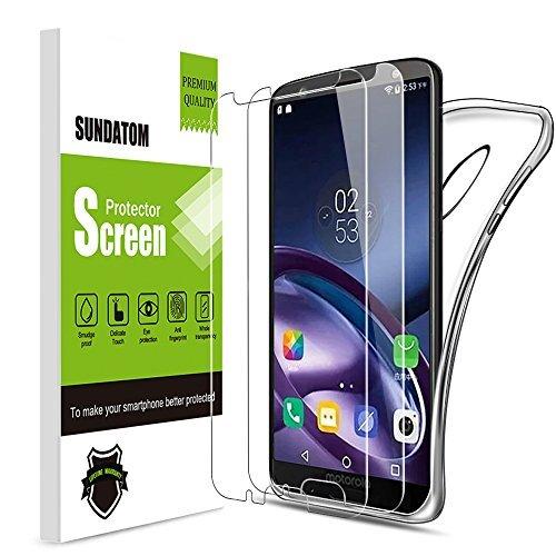 Galleria fotografica Sundatom Motorola Moto G6Plus Glass Screen Protector, [2confezione] pellicola protettiva in vetro temperato trasparente con custodia [antiurto] [e anti-graffio] [] per Motorola Moto G6Plus