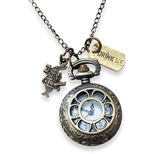 Alice im Wunderland. HŠngende Uhr mit Kaninchen und trinken mich Charms (Weiße Kaninchen Alice Im Wunderland Kostüm)