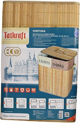 Tatkraft Fortuna Cesta de Ropa Rectangular Bambu 60L Cubierta Bolsa Interior Algodón 42X30X50cm