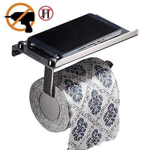 Selbstklebendes Toilettenpapier Halter, Wand montiert Edelstahl 304mit Handy Ablage chrom Toilettenpapier-halter-chrom Wand